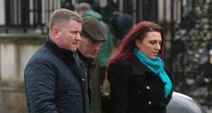 Paul Golding (left), leader of Britain First, and the group's deputy leader Jayda Fransen (right) arriving at Belfast's Laganside Courts on Thursday. Photograph: Mark Marlow/PA Wire.