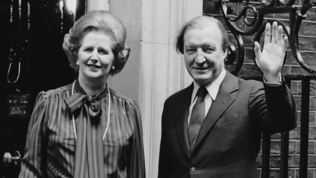 "Charles Haughey to Margaret Thatcher: ""We see"" your historic victory ""as a well deserved tribute to your great personal qualities, particularly your skill and resolution."" Photograph: Keystone/Getty"