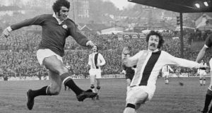"Crystal Palace's Don Rogers tackles Manchester United forward Ian Storey-Moore at Selhurst Park in 1972. ""The whole [United] team went missing that day,""  says Mulligan. ""Their attitude was terrible.""  Photograph: Central Press/Hulton Archive/Getty Images"