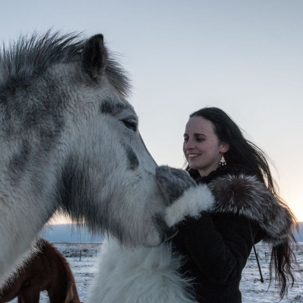 Sibeal Turraoin with Icelandic horses in Iceland, where she has been living for 18 months