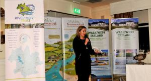 Host Angelina Nugent addressing the gathering at the River Moy Catchment Trust Expo event at Mount Falcon Hotel, Ballina. Photograph: John O'Connor