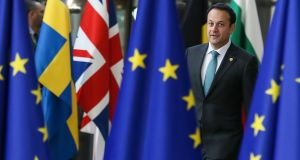 Taoiseach Leo Varadkar arrives at the European Council meeting in Brussels on Thursday. Photograph: EPA