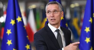 NATO secretary general Jens Stoltenberg arriving at the  EU summit  in Brussels. Photograph: Emmanuel Dunand/Getty Images