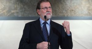 Spanish prime minister Mariano Rajoy delivers a speech during a visit to the Freixenet winery in Barcelona last Wednesday. Photograph: Josep Lago/AFP/Getty Images