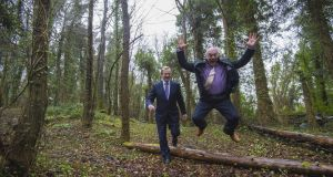 Then taoiseach Enda Kenny with Martin Dalby of Centre Parcs when the Ballymahon project was announced in 2015. Photograph: Brenda Fitzsimons