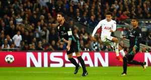 Dele Alli scoring for Spurs  in the  Champions League  against Real Madrid at Wembley  on November 1st. It was one of the most memorable nights in the history of the club. Photograph: Clive Rose/Getty Images