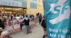 Anti-abortion protesters outside the Sinn Féin Ardfheis in 2015. Photograph: Dara Mac Dónaill/The Irish Times