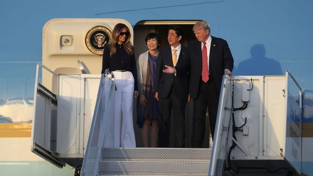 US president Donald Trump and his wife Melania Trump arrive with Japanese prime minister Shinzo Abe and his wife Akie Abe on Air Force One at the Palm Beach International Airport as they prepare to spend part of the weekend together at Mar-a-Lago resort on February this year. Photograph: Joe Raedle/Getty Images