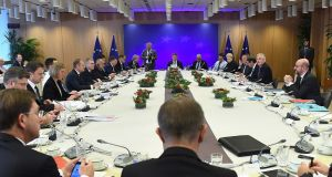 European Union leaders gather at the start of a meeting with chief EU negotiator Michel Barnier in Brussels. Photograph: Getty Images