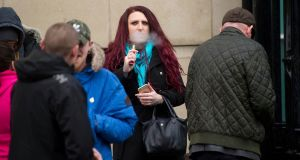 Jayda Fransen (31) has been charged with threatening behaviour over remarks made earlier this week beside a peace wall in Belfast.  Photograph: Mark Marlow/PA Wire.