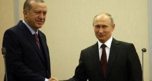 Turkish president Recep Tayyip Erdogan and Russian leader Vladimir Putin. They  appear to have made progress on the sale of an advanced Russian S-400 air missile defence system to Turkey. Photograph: Getty Images