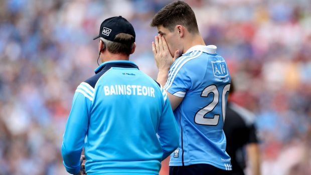 Jim Gavin prepares to introduce Diarmuid Connolly into the fray in the 70th minute against Tyrone. Photograph: Ryan Byrne/Inpho