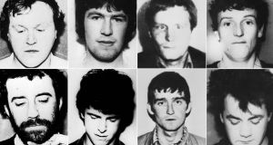 The eight-man IRA unit killed in a shoot-out with soldiers following the bombing of the Loughgall RUC station. Clockwise from top left: Gerard O'Callaghan, Antony Gormley, James Lynagh, Eugene Kelly, Declan Arthurs, Patrick McKerney, Seamus Donnelly and Patrick Kelly. Photograph: PA