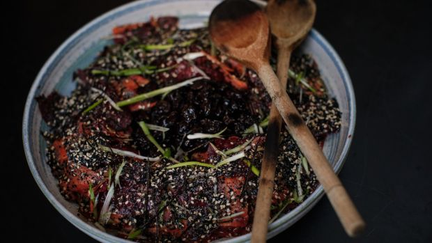 Sea vegetable salad with pickled sour cherries