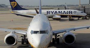 Shares in Ryanair fell 8.5 per cent  to trade at €15 in Dublin
