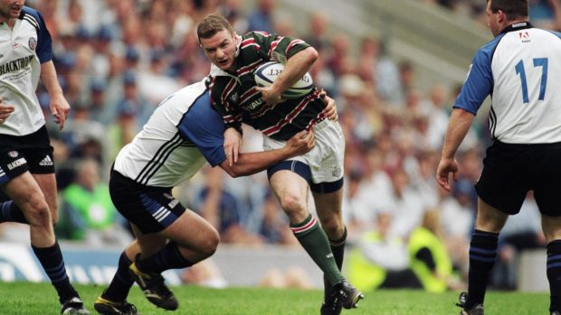 A young Geordan Murphy in action for Leicester against Bath during the 2001 Zurich Championship Final at Twickenham. Leicester won 22-10. Photograph: Mike Hewitt/Allsport