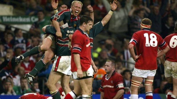 Neil Back and Leicester celebrate at the end of the match after the controversial 2002 Heineken Cup final victory over Munster at the Millennium Stadium. Photograph: Patrick Bolger/Inpho