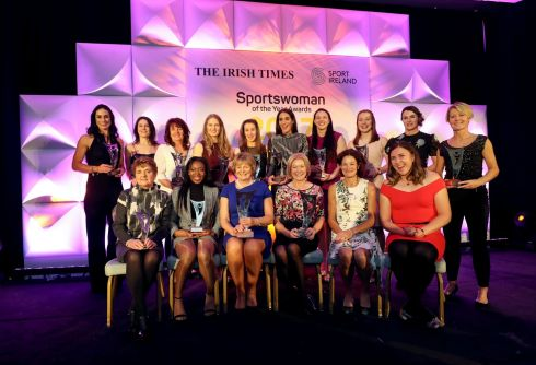 All of the 2017 Irish Times Sportswoman Of The Year monthly award winners at the Shelbourne Hotel. Photograph: Dan Sheridan/Inpho