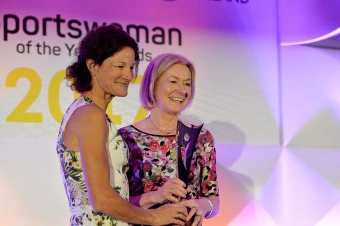 Sonia O'sullivan presents Mary Davis of Special Olympics with the Outstanding Achievement award. Photograph: Alan Betson/The Irish Times