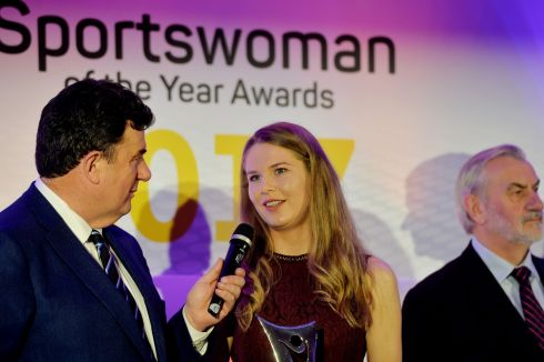Aoife Ni Chaiside (Camogie) winner of the March award, talks with Des Cahill after her presentation. Photograph: Alan Betson/The Irish Times