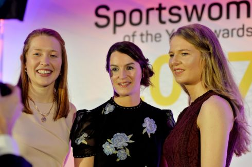 The GAA winners. Rena Buckley (Camogie), Sinead Aherne (Gaelic Football) and Aoife Ni Chaiside (Camogie) winners of the February and March awards. Photograph: Alan Betson/The Irish Times