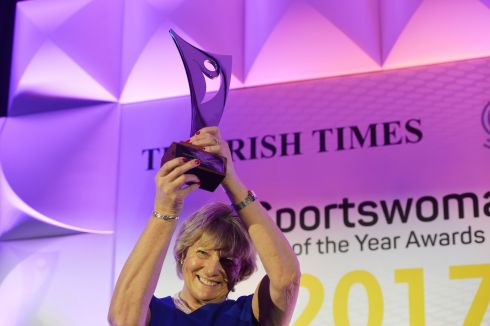 Jessica Harrington lifts her award after being named 2017 Sportswoman of the Year at The Irish Times Sport Ireland Sportswoman of the Year awards in Dublin. Photograph: Alan Betson/The Irish Times