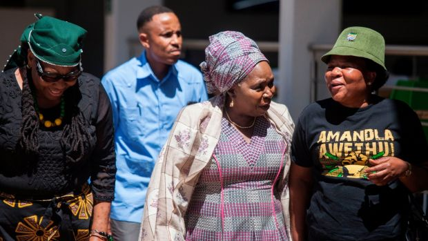 African National Congress presidential candidate Nkosazana Dlamini-Zuma (centre): critics claim an ANC under her leadership would mean a continuation of corruption. Photograph: Wikus De Wet/AFP/Getty