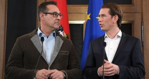 Austrian party leaders Sebastian Kurz and Heinz-Christian Strache give a joint press conference in Vienna. Photograph: Roland Schlager/AFP/Getty Images
