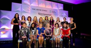 The Irish Times/Sport Ireland Sportswoman of the Year Jessica Harrington with the  award winners from the last 12 months. Back Row. Eve McCrystal, Katie-George Dunlevy, Ita Keirnan (on behalf of Leanne Kiernan), Aoife Ní Chasaide, Chloe Magee, Gráinne Dwyer, Paula Fitzpatrick, Rena Buckley, Sinead Aherne, Sue Ronan (on behalf of Katie McCabe). Front Row: Vonnie Noonan (on behalf of Leona Maguire) Gina Akpe-Moses, Jessica Harrington (overall winner), Mary Davis (Outstanding Achievement), Sonia O'Sullivan, Annalise Murphy. Photograph:  Tom Honan.