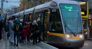 There were delays on sections of the Cross City Luas during its first morning rush hour on Monday. Photograph: Collins