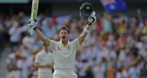 Australian captain Steve Smith celebrates after reaching his 200 on day three of the third Ashes cricket Test match at the WACA ground in Perth. Photograph: Getty Images