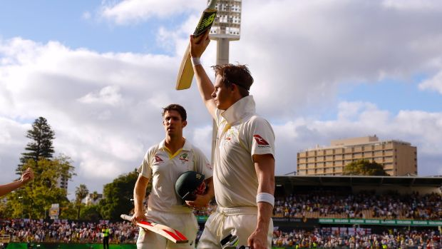 Steve Smith celebrates with team mate Mitchell Marsh as they walk off the field at the end of the third day of the third Ashes cricket test match. Photograph: David Gray/Reuters