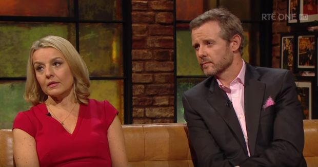 Fiona and Tim Tuomey on The Late Late Show on Friday.