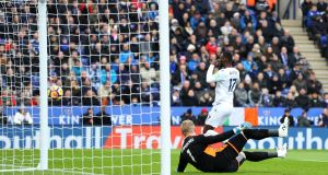 Christian Benteke of Crystal Palace celebrates after scoring at The King Power Stadium. Photograph: Matthew Lewis/Getty Images