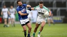 St. Loman's Paddy Dowdall and Eddie Heavey of Moorefield  during the Leinster senior football championship final. Photo: Ryan Byrne /Inpho