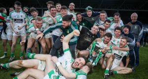 Moorefield celebrate winning the AIB GAA Leinster senior football championship. Photo: Ryan Byrne/Inpho