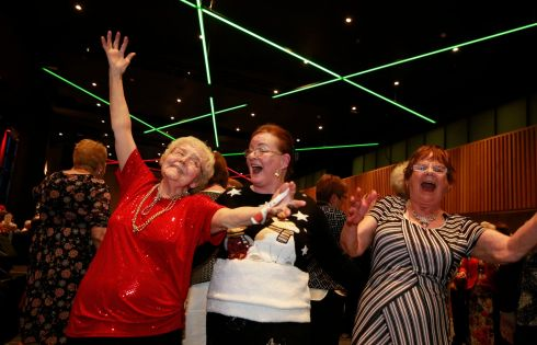 FESTIVE FUN: Croke Park has hosted its 16th annual Senior Citizens Christmas Party for 650 of its elderly neighbours.  Margaret Robinson, Alice O'Hare and Teresa McKeown enjoy the day.  Photograph Nick Bradshaw