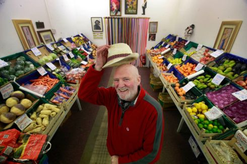 LAST ORDERS: Jack Roche in his family fruit and veg business in Meath Street, which is closing after 100 years in Dublin. Photograph Nick Bradshaw