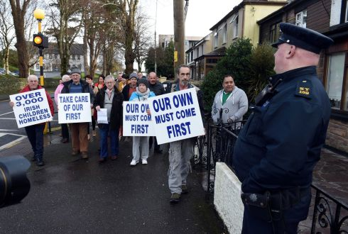 ASYLUM CENTRE: Protestors led by local Cllr Donal Grady hand in a letter of concern to the newly opened asylum cantre in the former Linden House Killarney on Saturday. The group claim the centre opened on Friday December 15th without consultation with the local community. Photograph: Don MacMonagle
