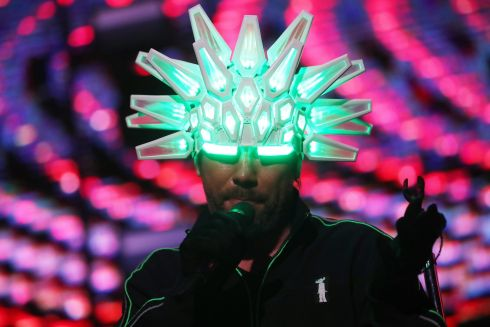 LIGHT TOUCH: Jay Kay, singer of the British band Jamiroquai, performs during a concert in Santiago, Chile Photograph: Elvis Gonzalez/EPA