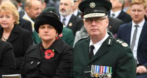 DUP leader Arlene Foster and PSNI chief constable George Hamilton at the unveiling of a memorial to victims of the Enniskillen bombing 30 years ago. Photograph: Justin Kernoghan/Photopress