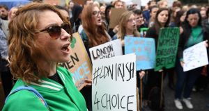 Protesters hold up placards during the London March for Choice outside the Embassy of Ireland in central London in September. Photograph:  Chris J Ratcliffe/AFP/Getty Images)