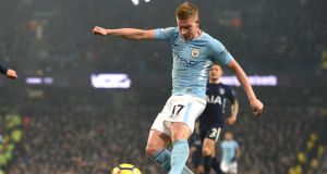 Manchester City's Kevin De Bruyne scores during their Premier League win over Tottenham Hotspur. Photo: Paul Ellis/Getty Images
