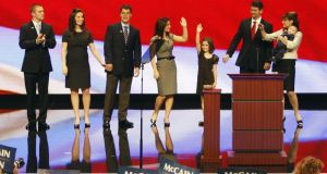 2008:  Track Palin (far left) joins his mother, Republican vice presidential candidate, Sarah Palin on stage after her speech at the Republican National Convention. Photograph: AP/Ron Edmonds