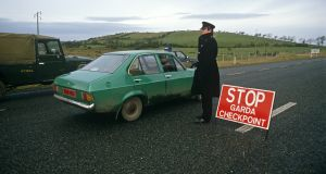A Garda checkpoint in Co Donegal at the Border with Northern Ireland in November 1985. Photograph: Alain Le Garsmeur/Getty Images