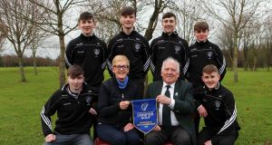 St Kieran's College, Kilkenny, the Leinster Schools Senior champions (Standing (l-r): Ned Kirwan, Michael O'Shaughnessy, Sean Minogue, James Everard. Seated: Shane Whelan, Anne Wemyss, team manager St Kieran's College, John Ferriter, chairman Leinster Golf, Patrick O'Shea.