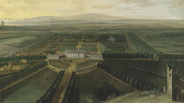An extensive view of Carton House, County Kildare, with Maynooth in the distance, by Dutch artist William van der Hagen, sold for £428,750.