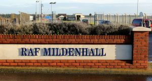 A file image of the entrance to American Air Force Base RAF Mildenhall in Suffolk.  Photograph:  Chris Radburn/PA Wire.