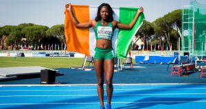 Gina Akpe-Moses celebrates  after winning the European U20 100m Women title in 11.71 seconds at the European Athletics U20 Championships in Grosseto, Italy. Photograph: Sportsfile