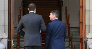 Taoiseach Leo Varadkar  and  Minister for Finance  Paschal Donohoe. They have inherited an economy that continues to perform ahead of expectations. Photograph Nick Bradshaw